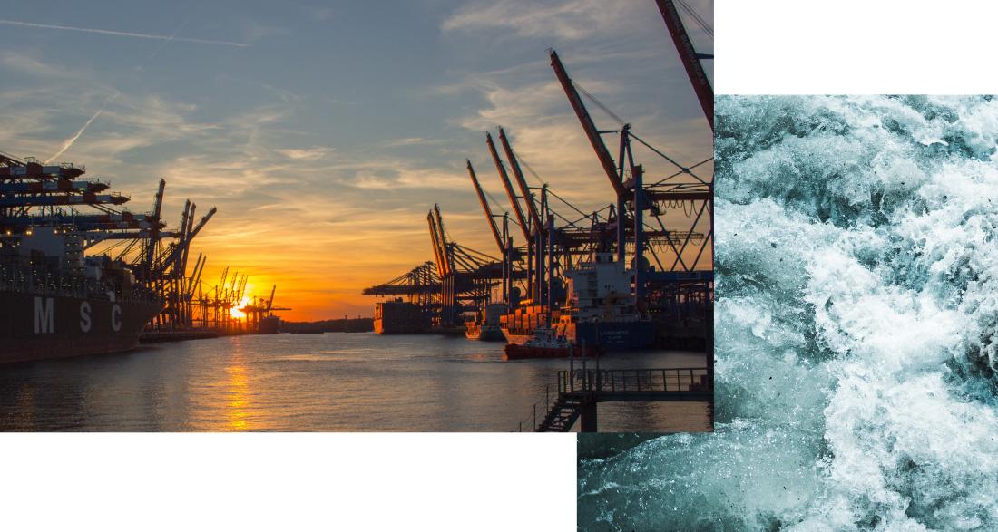 """Schmuckbild """"Schwerpunkte"""": Hamburger Hafen bei Dämmerung"""